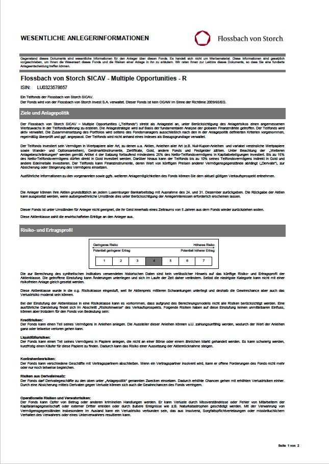 Wesentliche Anlageinformationen (KID)